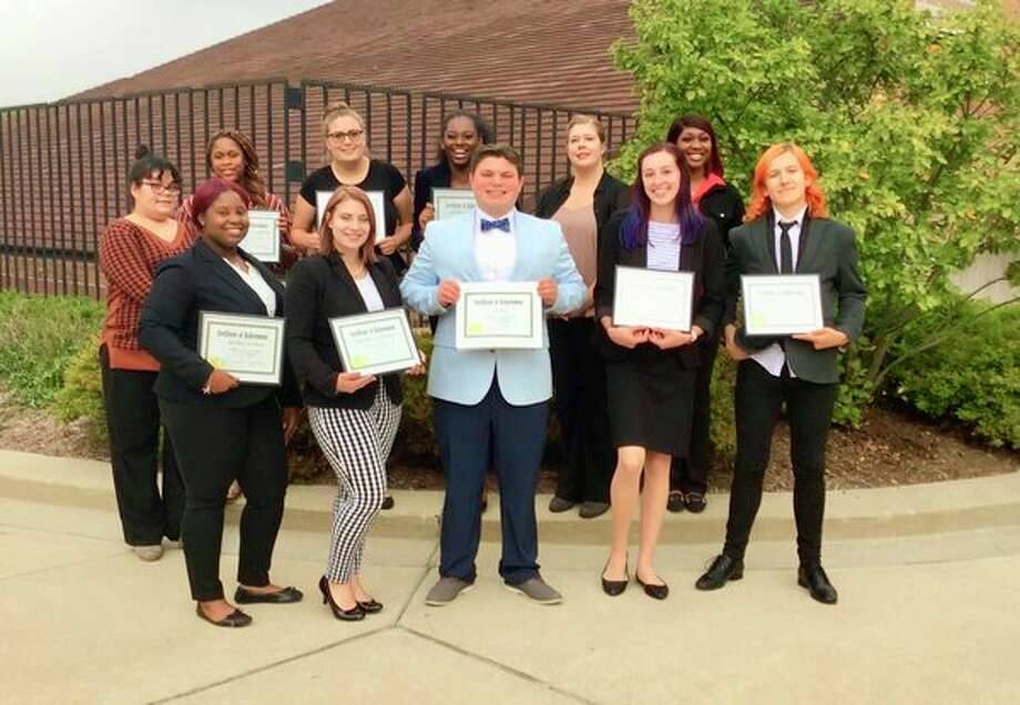 The SVSU forensics team poses after its Sept. 27 victory. From left, the students in the front row are Monae Colvin, Mikayla Rigda, Isaiah Powell, Jessica Carpenter and Austin Teeple. The students in the back row are, from left, Sara Vasquez, Imani Clark, Savannah Senyk, Simone Vaughn, Lydia Greania, and Briana Wright. (Photo provided)