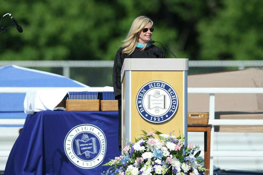 Board of Education chairman Tara Ochman speaks during the Darien High School Class of 2018 Commencement ceremony on the school's football field in Darien, Conn. on Thursday, June 21, 2018. Photo: Michael Cummo / Hearst Connecticut Media / Stamford Advocate