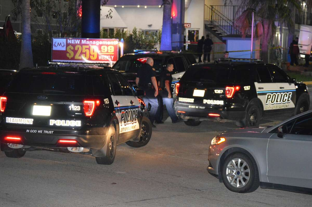 A Beaumont police investigate an officer-involved shooting at a Beaumont hotel Tuesday, Oct. 8, 2019. Photo provided by Eric Williams