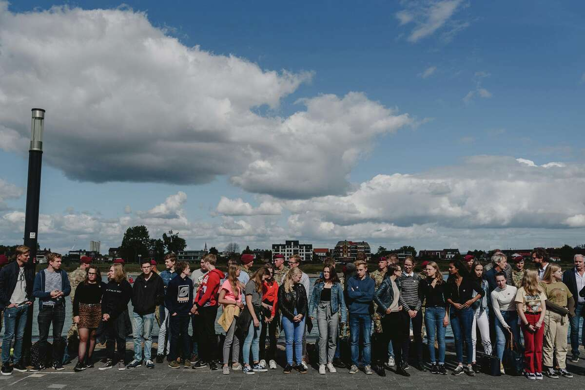 This group of 32 Dutch high school students gathered in their home city of Nijmegen in the Netherlands before departing on their cultural exchange visit this week to their sister city, Albany.