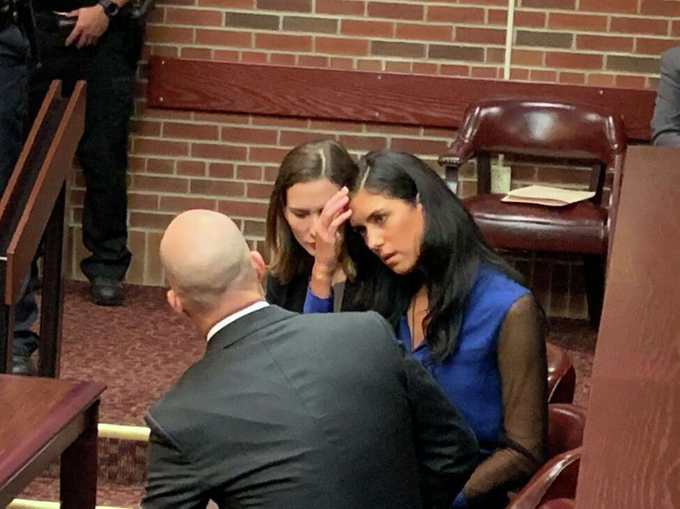 Maria Lentini, right, speaks with her attorneys, Julie Nociolo and James Knox, at her sentenced Tuesday in the hit-and-run crash that killed 30-year-old Patrick Duff on Dec. 6, 2015 in Halfmoon.