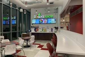 The  Robeks  juice and smoothie shop at the Bobby Valentine Health and Recreation Center at Sacred Heart University in Fairfield.