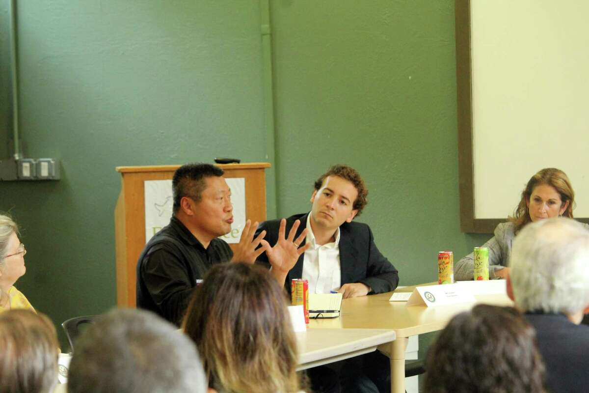 State Sen. Tony Hwang, R-28, speaks before a gathered crowd at a roundtable discussion at Earthplace. Taken Oct. 7, 2019 in Westport, Conn.