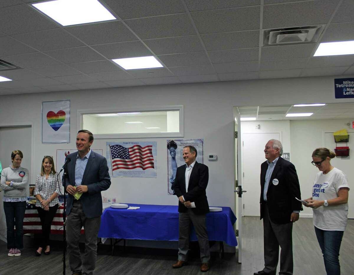 Senator Chris Murphy endorsed Mike Tetreau and Nancy Lefkowitz for First Selectman and Selectman at a DTC event Monday.