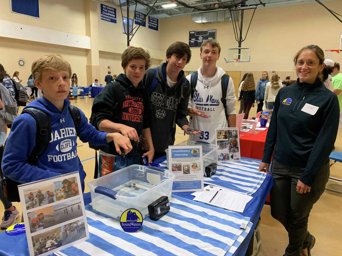 Jessica Cantoro introduces Issac McMullin, Griffin Beringer, Dylan Alini and Luke Anderson to some of the marine life Soundwaters aims to protect and preserve in Long Island Sound.