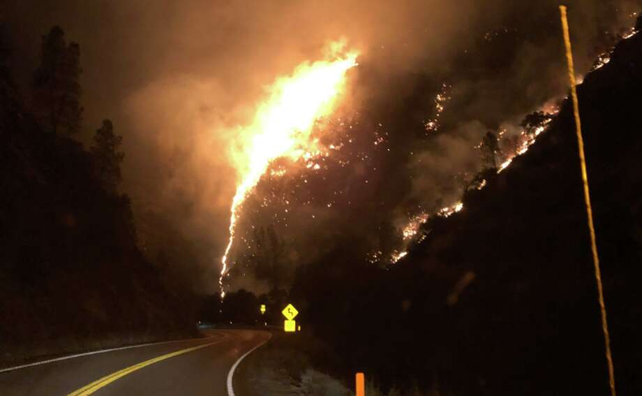 The Briceburg Fire burns off Highway 140 near the Mariposa County town of Briceburg. (Monday, Oct. 7, 2019.) Photo: Caltrans District 10