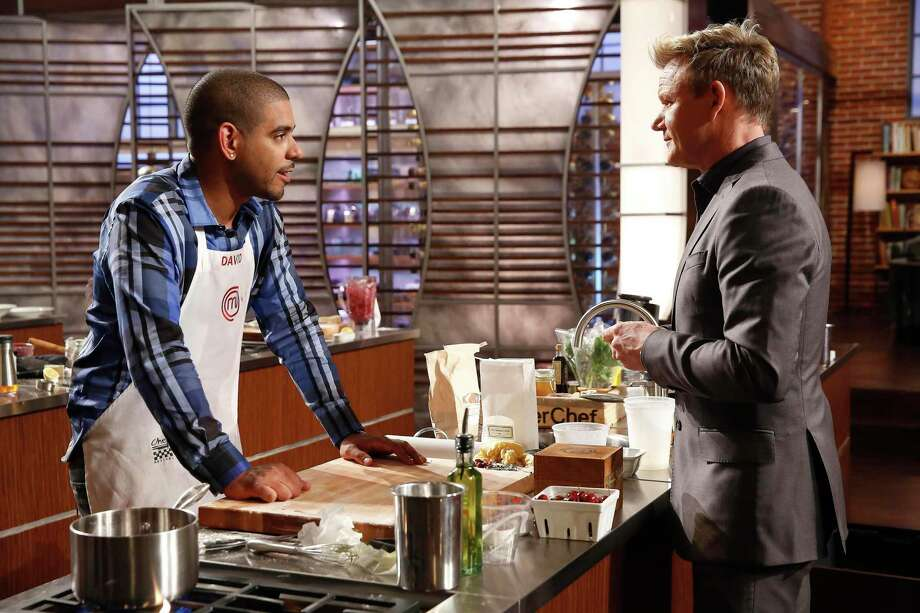 "Contestant David and chef/judge Gordon Ramsay in the ""Family Drama/Critics Choice"" episode of ""MasterChef"" on Fox. Photo: Greg Gayne / FOX Broadcasting Co."