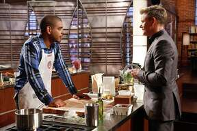 "Contestant David and chef/judge Gordon Ramsay in the ""Family Drama/Critics Choice"" episode of ""MasterChef"" on Fox."