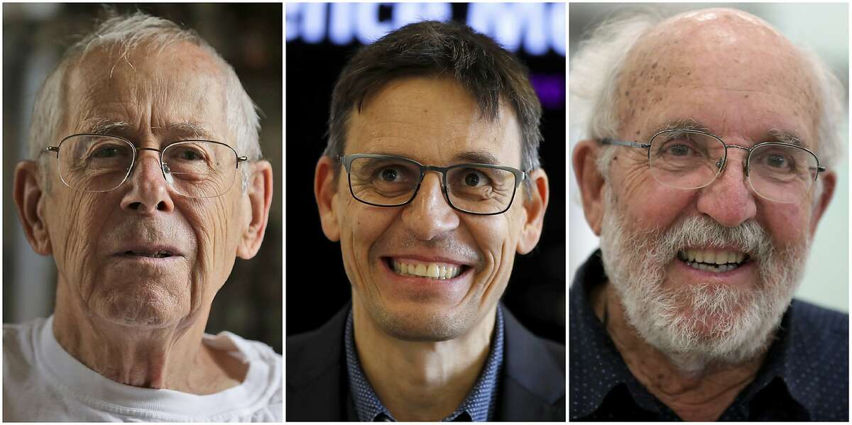 This combination of Oct. 8, 2019, photos shows the Nobel Prize winners in Physics, from left, James Peebles in Princeton, N.J., Didier Queloz in London and Michel Mayor in Madrid. Peebles, an emeritus professor at Princeton University, won for his theoretical discoveries in cosmology. Swiss star-gazers Mayor, and Queloz, both of the University of Geneva, were honored for finding an exoplanet - a planet outside our solar system - that orbits a sun-like star, the Nobel committee said. (AP Photo)