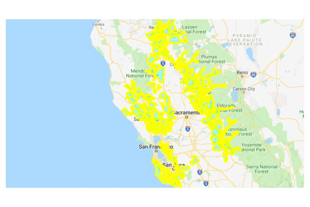 A wide view of the map shows much of Northern California will have its power shut off starting late Tuesday night. (Continue clicking or swiping through the gallery for a closer look.)