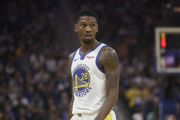 Golden State Warriors forward Alfonzo McKinnie (28) against the Los Angeles Lakers during a preseason NBA basketball game in San Francisco, Saturday, Oct. 5, 2019. (AP Photo/Jeff Chiu)