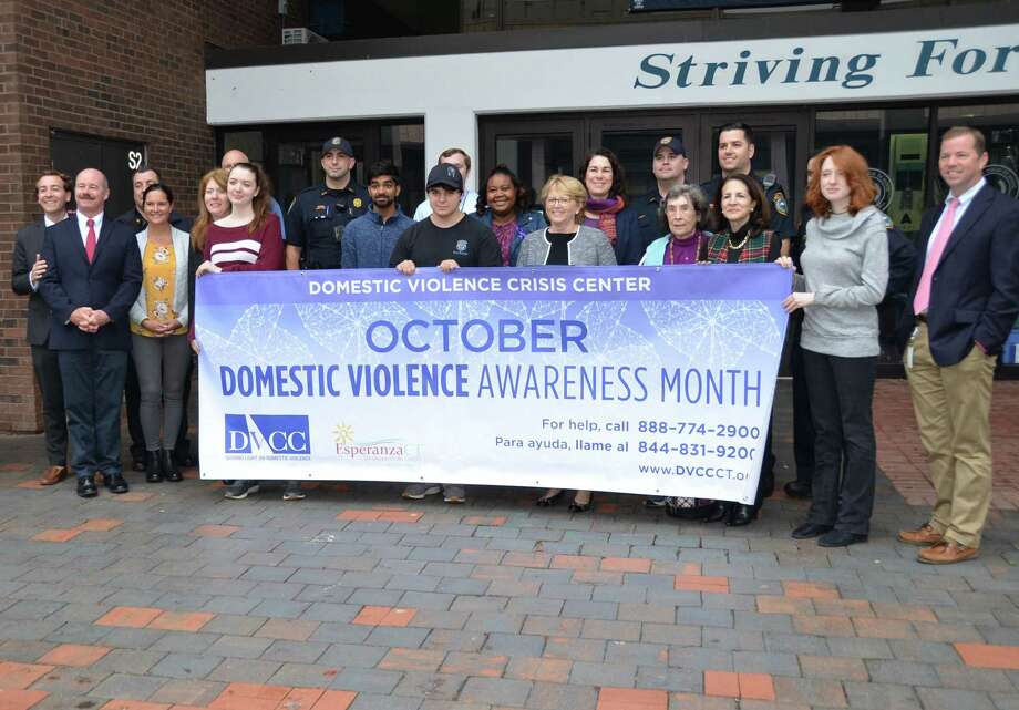 A proclamation was read on Tuesday, Oct. 8 in Wilton in support of Domestic Violence Awareness month. Photo: Jerry Holdrige /Contributed Photo / Wilton Bulletin Contributed
