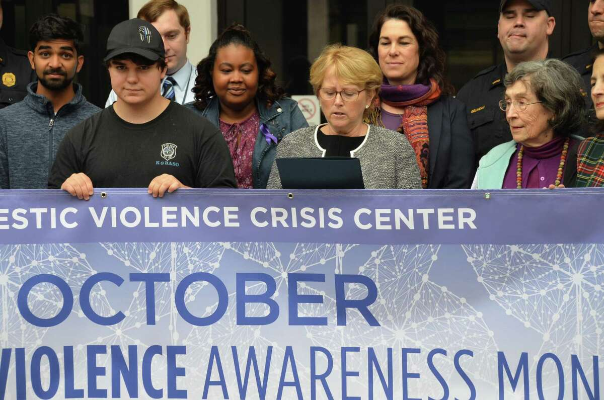 Attending a proclamation reading in Wilton honoring Domestic Violence Awareness Month, from left, Brandos Steller of Team Peace Works at Wilton High School, Nikkia Ellis, Domestic Violence Crisis Center educator, First Selectwoman Lynne Vanderslice, Suzanne Adams, DVCC executive director, and Barabra Holdridge of Wilton's Domestic Violence Task Force.