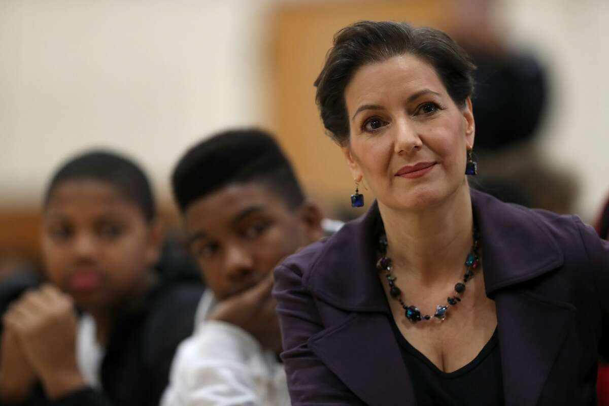 Oakland mayor Libby Schaaf looks on during an assembly at Edna Brewer Middle School about the U.S. Constitution on January 19, 2018 in Oakland, California.