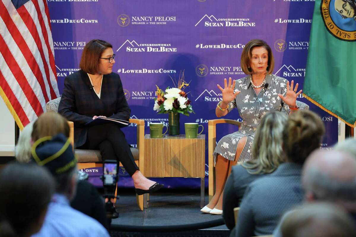 House Speaker Nancy Pelosi and Congresswoman Suzan DelBene held a conversation and question and answer session on lowering the cost of prescription drugs at Harborview Medical Center, Tuesday morning, Oct. 8, 2019. The event was a part of Pelosi's 'Speaker of the House' series.