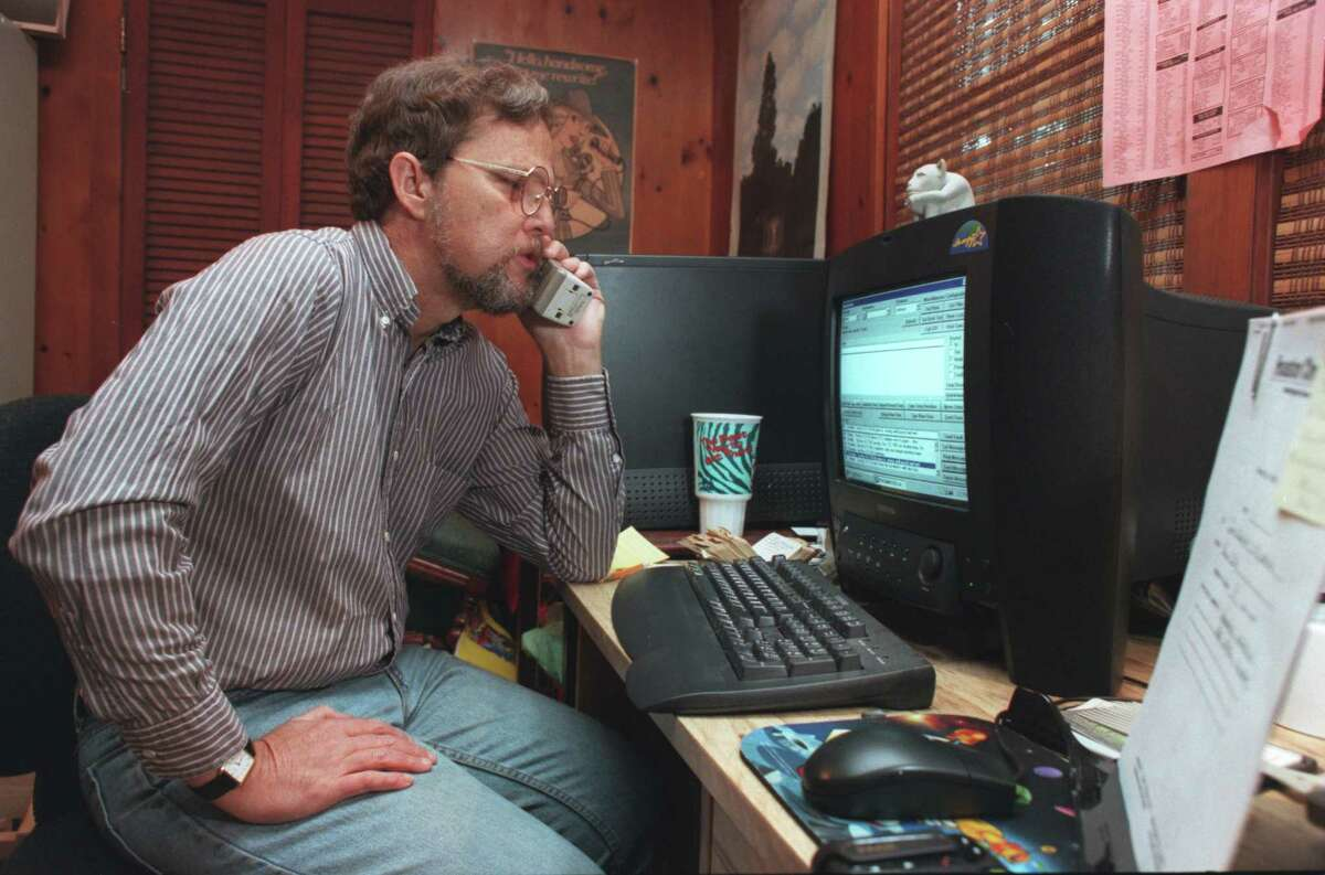 Mike Snyder, working at home in 1998.