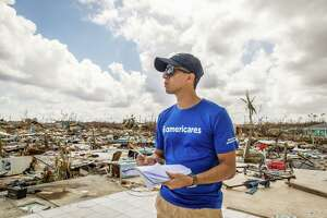 Americares relief worker Eric Perez conducts a damage assessment on Abaco Island.