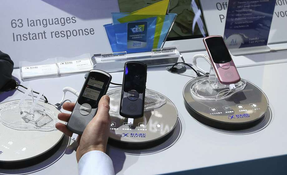 An electronic language translator from iFlytek is displayed at CES in Las Vegas in January. The company is among those blocked from buying tech from U.S. companies. Photo: Ross D. Franklin / Associated Press