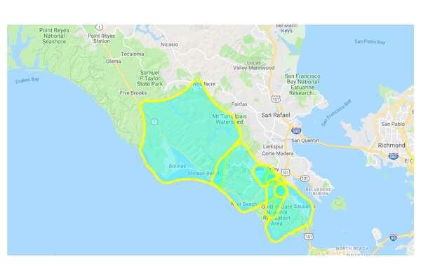 Customers in Marin County were added to the potential outage map Tuesday afternoon.
