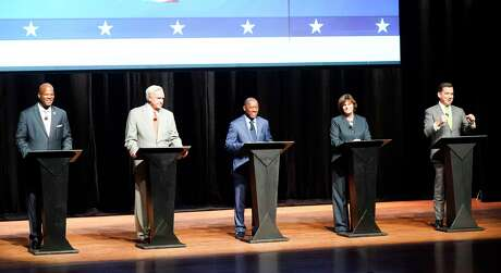 Top five Houston Mayoral candidates debate at Hobby Center on Wednesday, Oct. 2, 2019. The debate included Dwight Boykins, from left, Bill King, Sylvester Turner, Sue Lovell and Tony Buzbee.