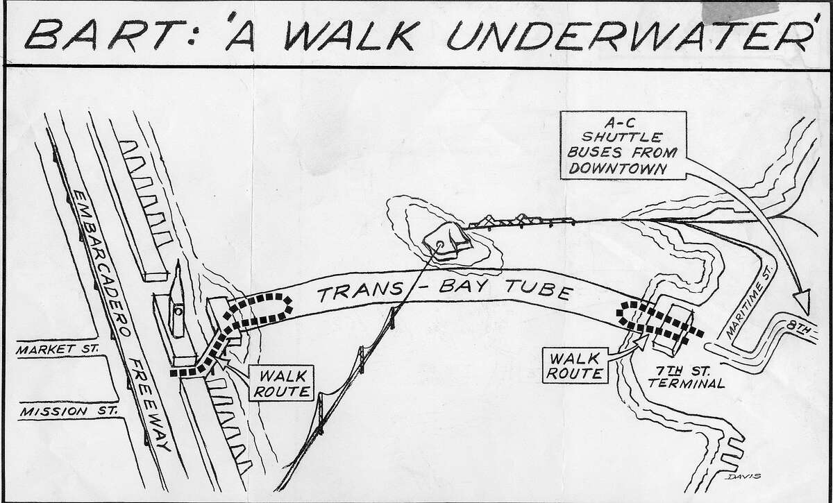 A Chronicle illustration of the BART tube walks, with starting points at each end of the tube, November 9, 1969