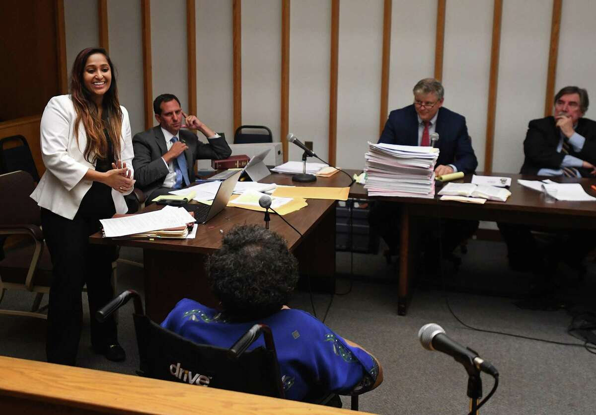 Attorney for the plaintiffs Prerna Rao, left, questions Bridgeport absentee voter Ruth Walter during testimony in a lawsuit seeking to throw out the results of the recent Bridgeport Democratic primary due to absentee ballot irregularities in state Superior Court in Bridgeport on Tuesday.
