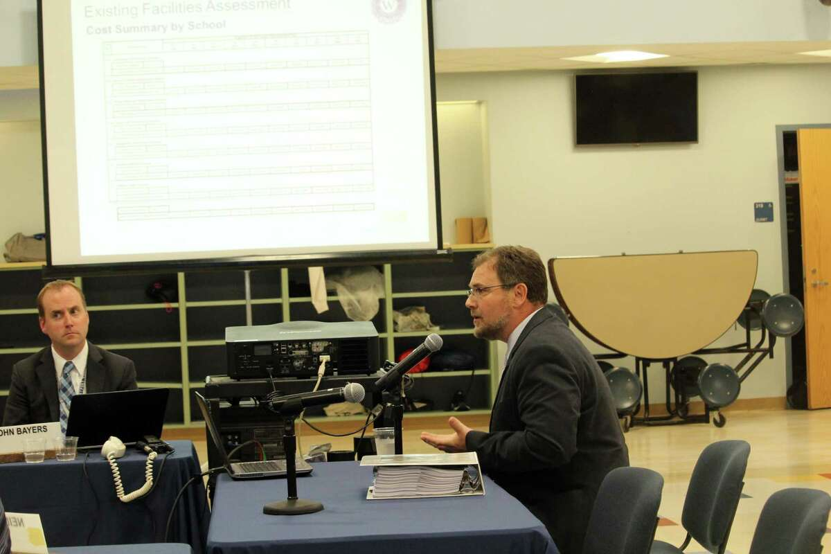 Michael Losasso, architect with consultant Antinozzi Associates, gave a long awaited facilities report presentation at the Board of Education meeting on Monday. Taken Oct. 7, 2019 in Westport, Conn.