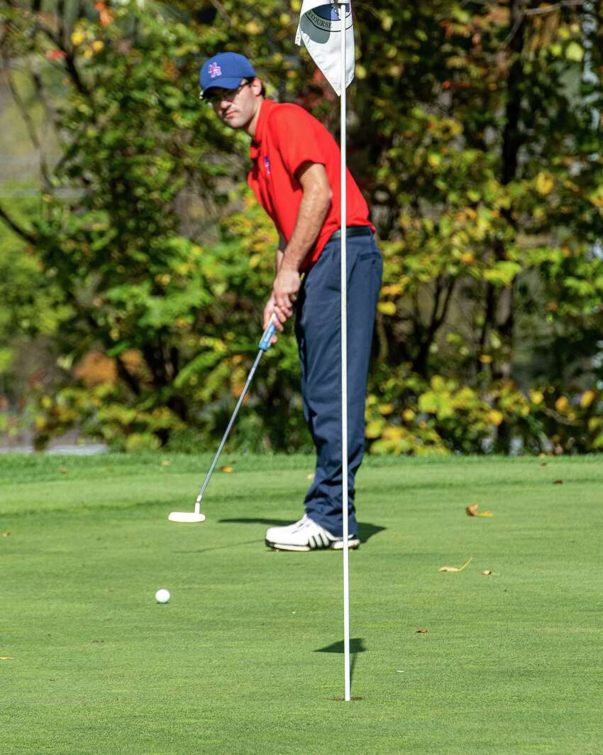John Russell, of Maple Hill High School, puts during the Section II Class B and C/D golf championships at the Fairways of Halfmoon in Mechanicville NY on Tuesday, Oct. 8, 2019 (Jim Franco/Special to the Times Union.)