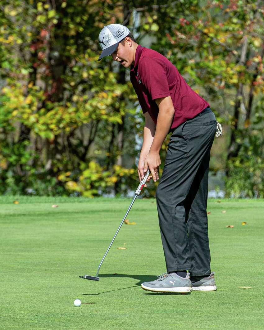 Taylor Gifford of Fort Plain High School, misses a short one during the Section II Class B and C/D golf championships at the Fairways of Halfmoon in Mechanicville NY on Tuesday, Oct. 8, 2019 (Jim Franco/Special to the Times Union.)