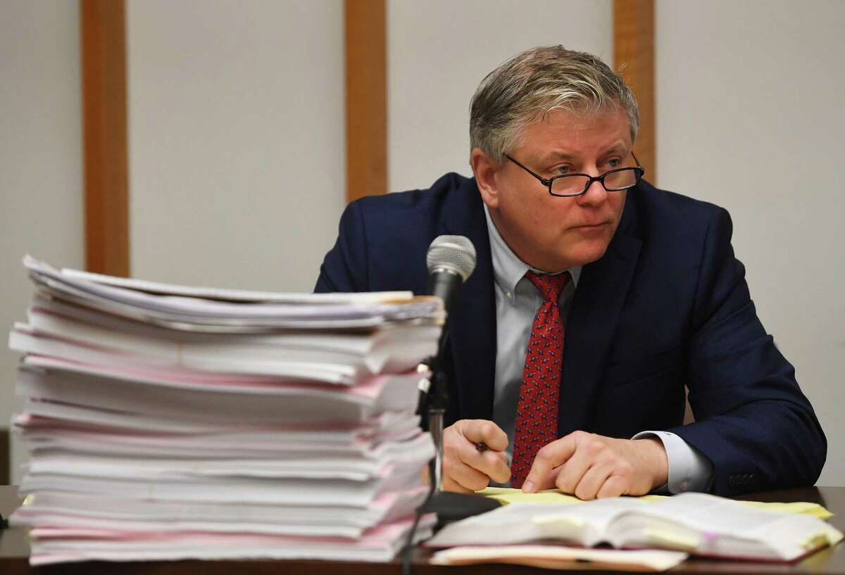 Deputy Bridgeport City Attorney John Bohannon, Jr. questions a witness in a lawsuit seeking to throw out the results of the recent Bridgeport Democratic Primary due to absentee ballot irregularities in Superior Court in Bridgeport, Conn. on Monday, October 8, 2019.