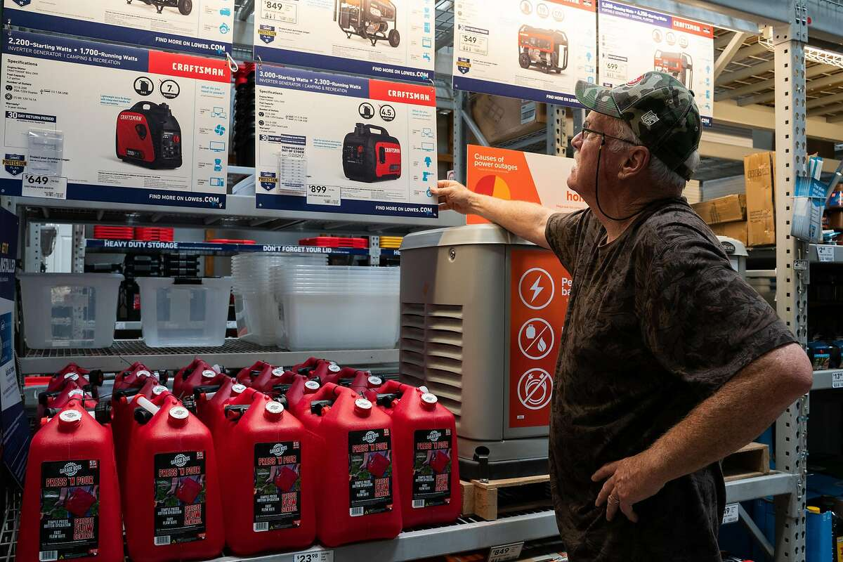 Don Maben of Pittsburg, contemplates whether he should buy a generator for his home at Lowe's in Antioch, Calif., on Tuesday, Oct. 8, 2019. Maben said there's been three fires near his home in the last ten years.