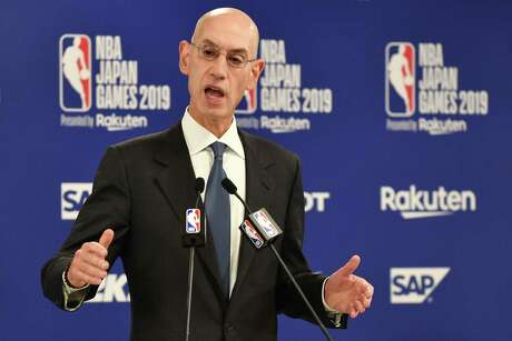 NBA Commissioer Adam Silver speaks during a press conference prior to the NBA Japan Games 2019 between the Toronto Raptors and Houston Rockets in Saitama on October 8, 2019. The NBA will not regulate the speech of players, employees and owners, the organisation's commissioner said Tuesday after a tweet from a Houston Rockets executive sparked a backlash in China.