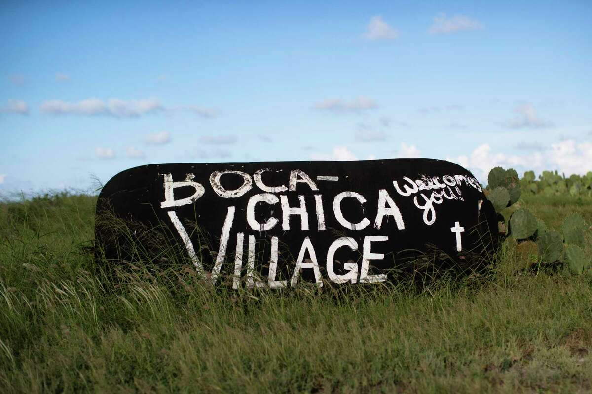 A sign announces the entrance to the Boca Chica Village on Friday, Sept. 27, 2019, in Boca Chica.