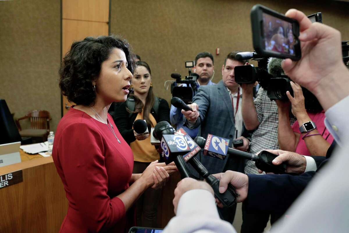 Harris County Judge Lina Hidalgo talks with news organizations during a recess break of the commissioners court Tuesday, Oct. 8, 2019 in Houston, TX. Hidalgo called the court's failure to approve a property tax increase
