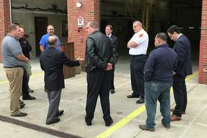 U.S. Sen. Richard Blumenthal, rear, during a visit to Cromwell Fire Department Tuesday.