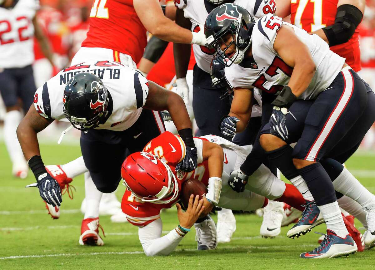 The Texans saw Patrick Mahomes briefly in the preseason as Angelo Blackson and Brennan Scarlett sack the Chiefs quarterback.