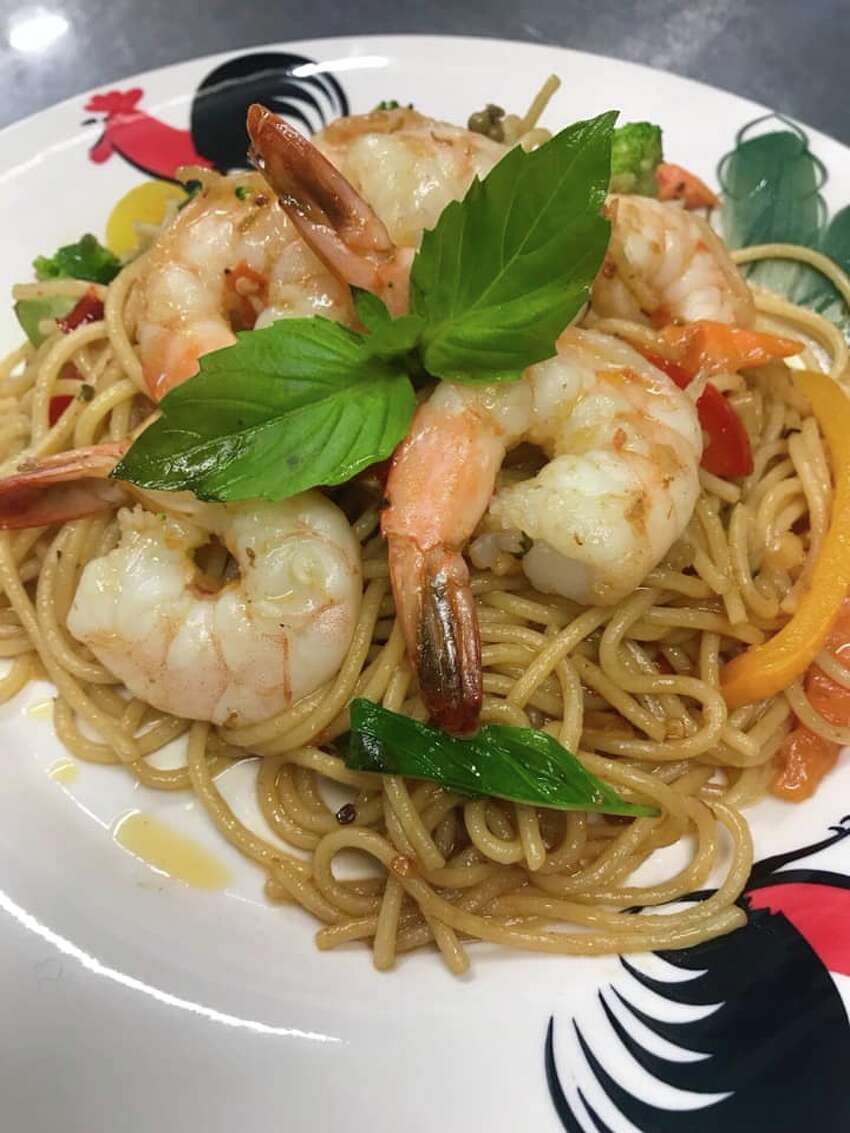 Drunken noodle with shrimp and spaghetti noodle is plated at Lime Leaf Thai Bistro, which opened in Troy, N.Y., on Oct. 2, 2019.