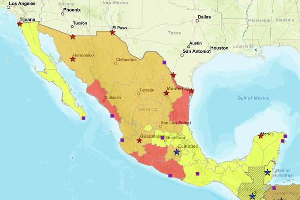 A color coded US State Department map showing which parts of Mexico are safest (yellow), which ones you should think twice about visiting (orange), and those you should avoid (red).