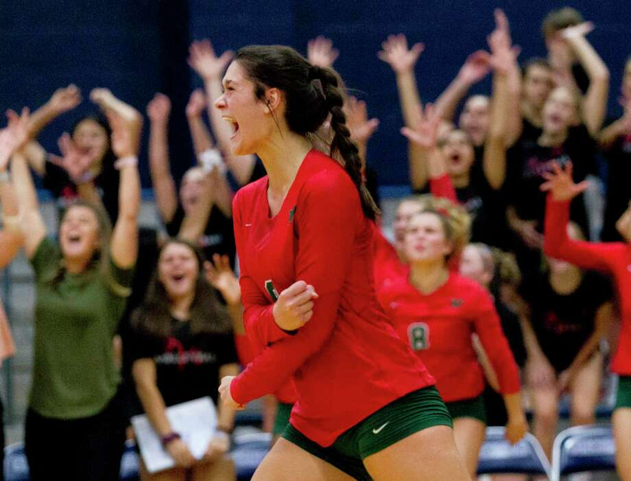 The Woodlands outside hitter Dylan Maberry (9) reacts after a block sealed a 28-26 win over Concordia Lutheran in the first set of a non-district high school volleyball match at Concordia Lutheran High School, Tuesday, Aug. 27, 2019, in Tomball. Photo: Jason Fochtman, Houston Chronicle / Staff Photographer / Houston Chronicle