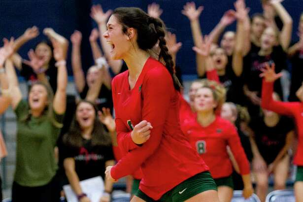 The Woodlands outside hitter Dylan Maberry (9) is The Courier's Player of the Year. The LSU-bound senior holds the program records for kills in a match, season and career.