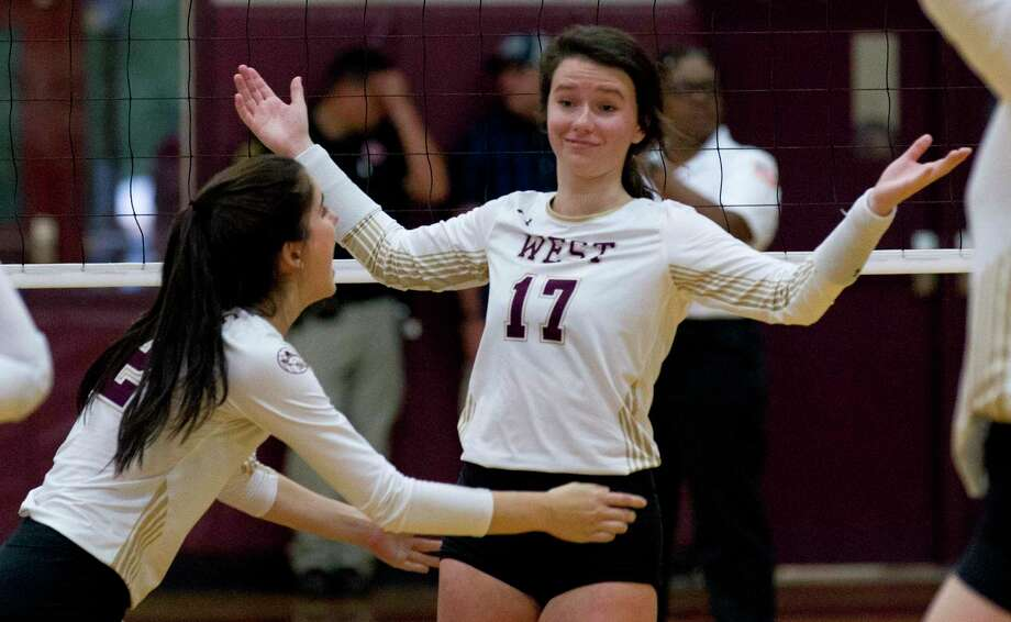 Daylan Meyers #17 of Magnolia West reacts after scoring a point during the first set of a District 19-5A high school volleyball match at Magnolia West High School, Tuesday, Oct. 8, 2019, in Magnolia Photo: Jason Fochtman, Houston Chronicle / Staff Photographer / Houston Chronicle