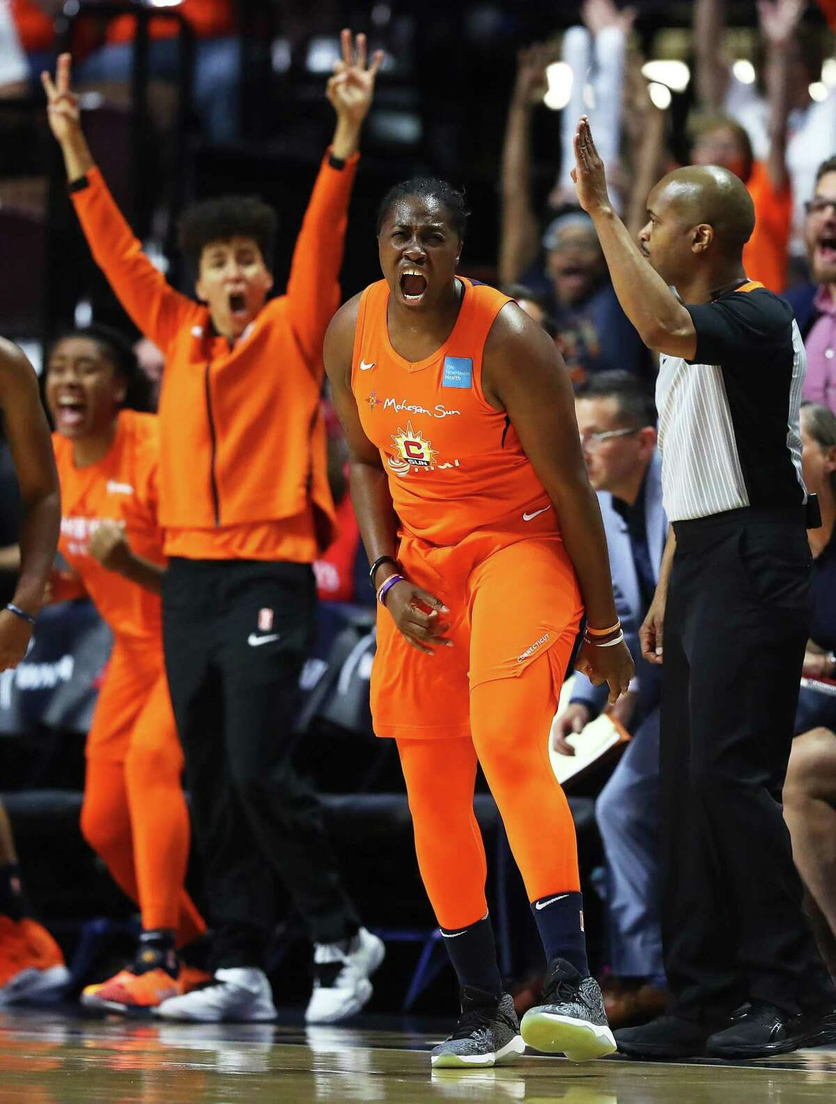 UNCASVILLE, CONNECTICUT - OCTOBER 08: Shekinna Stricklen #40 of Connecticut Sun celebrates after scoring during the first quarter of Game Four of the 2019 WNBA Finals between the Washington Mystics and Connecticut Sun at Mohegan Sun Arena on October 08, 2019 in Uncasville, Connecticut. (Photo by Maddie Meyer/Getty Images)