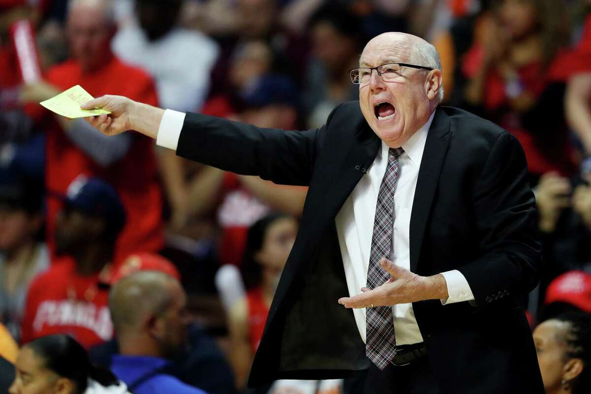 UNCASVILLE, CONNECTICUT - OCTOBER 08: Head coach Mike Thibault of Washington Mystics disputes a foul call during Game Four of the 2019 WNBA Finals between the Washington Mystics and Connecticut Sun at Mohegan Sun Arena on October 08, 2019 in Uncasville, Connecticut. (Photo by Maddie Meyer/Getty Images)