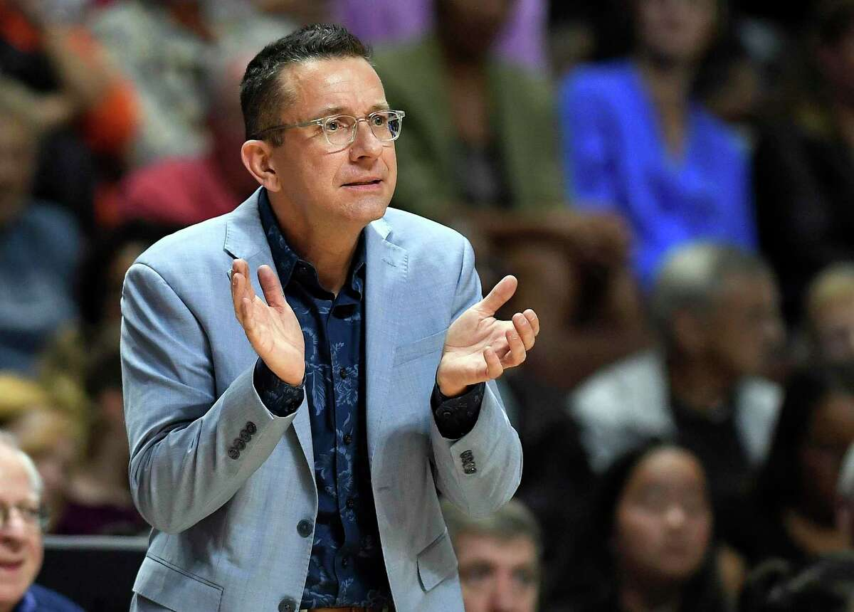 Connecticut Sun head coach Curt Miller watches from the sideline during the first half in Game 4 of basketball's WNBA Finals against the Washington Mystics, Tuesday, Oct. 8, 2019, in Uncasville, Conn. (AP Photo/Jessica Hill)