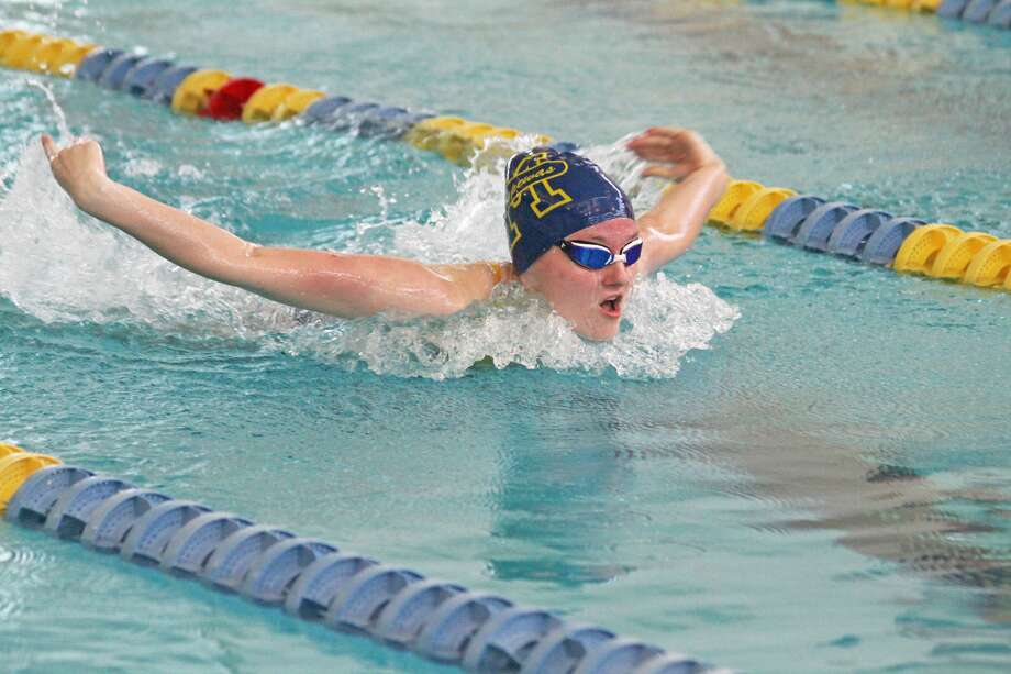 Manistee's Lauren Mendians swims to victory in the 200-yard individual medley on Tuesday. Photo: Dylan Savela/News Advocate
