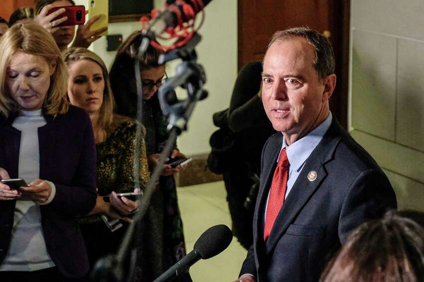 Representative Adam Schiff, a Democrat from California and chairman of the House Intelligence Committee, speaks to members of the media on Capitol Hill in Washington, D.C., U.S., on Tuesday, Oct. 8, 2019. Gordon Sondland, the U.S. ambassador to the European Union, on Tuesday canceled his scheduled testimony before House impeachment investigators looking into President Donald Trump's activities involving Ukraine. Photographer: Alex Wroblewski/Bloomberg