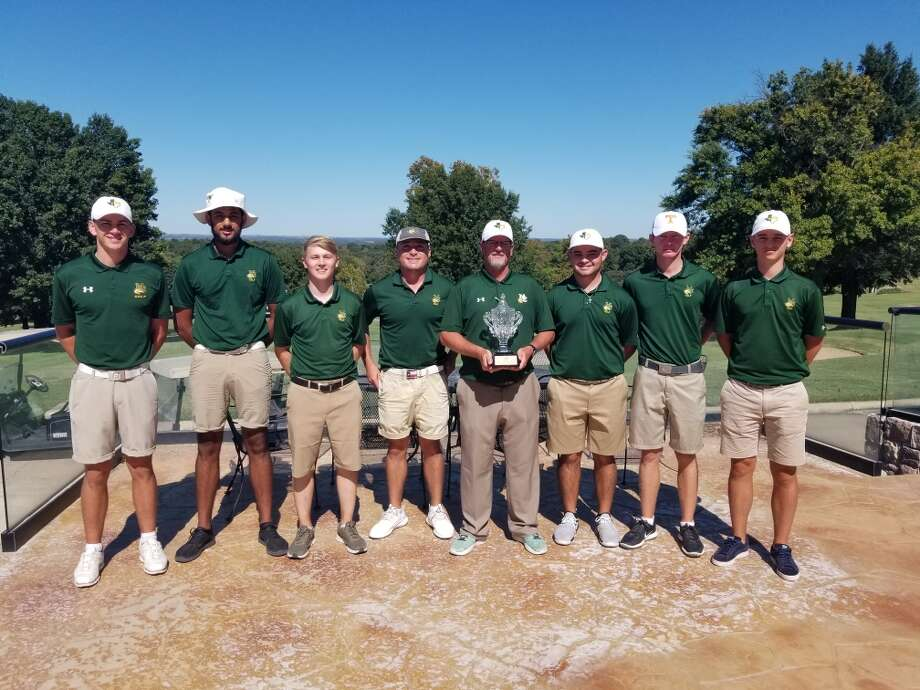 The Midland College golf team poses after winning the Dornick Hills Invitational in Ardmore, Okla., on Tuesday. Photo: Courtesy Photo
