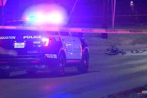 A police cruiser hit a cyclist Tuesday in northeast Houston, according to authorities.