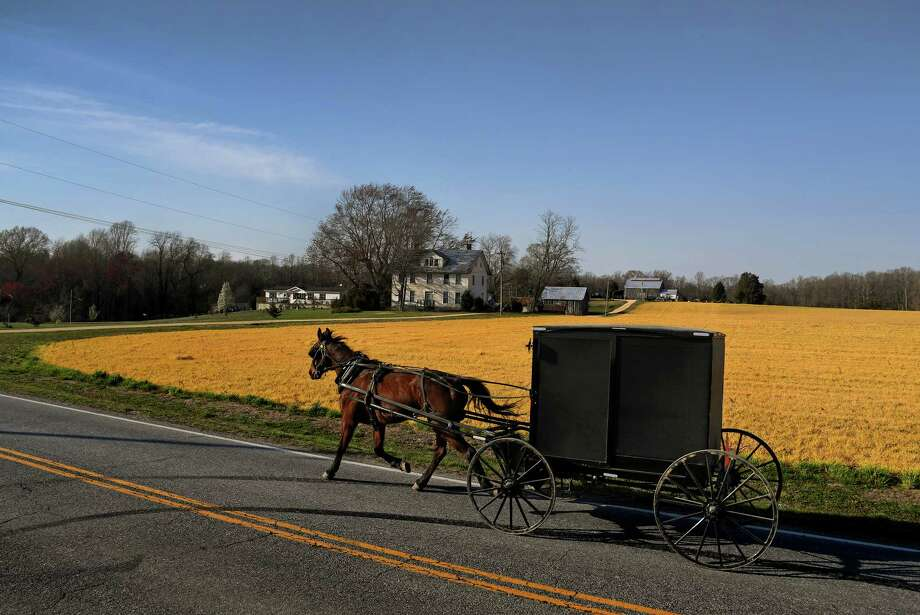An Amish buggy in Mechanicsville, Md., where some Amish and Mennonite families from Lancaster, Pa., moved in the 1930s. Photo: Washington Post Photo By Michael S. Williamson. / The Washington Post