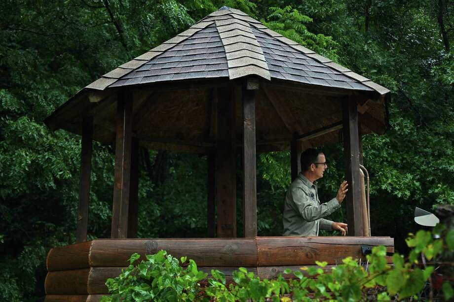 Drew Miller stands in a treehouse at Fortitude Ranch, a survivalist camp in West Virginia. If there were a breakdown in society, the treehouse would become a guard tower. Photo: Washington Post Photo By Michael S. Williamson. / The Washington Post